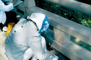 The scene : amateur painters, Keitakuen garden, Osaka, Japan